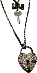 Betsey Johnson Layered Black Key & Heart Lock Necklace