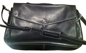 Coach Leather Men Women Black Messenger Bag