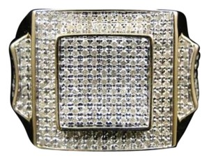 Mens 10k Yellow Gold Round Cut Diamond Pave Set Pinky Band Ring .92 Ct