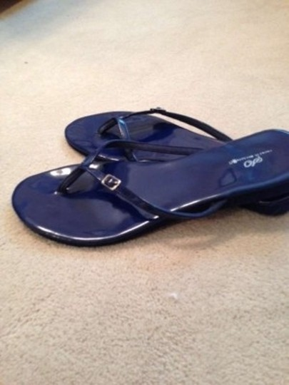 Unknown Flip Flop Flip Flops Thong Thongs Buckle Buckled Buckles Navy Shiny Blue Sandals
