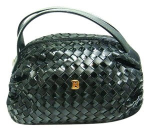 Bally Woven Leather Handbag Vintage Satchel in Black