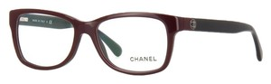 Chanel 3314 Eyeglasses Eye Glasses Burgundy Red Black CC Logo Wayfarer