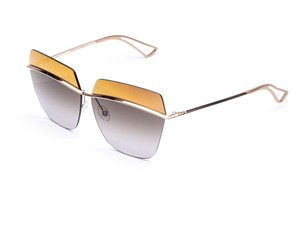 Dior Metallic 63MM Square Sunglasses Gold/Brown Shaded Mirror