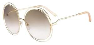 Chloé Carlina Round Wire-Frame Sunglasses Transparent Peach
