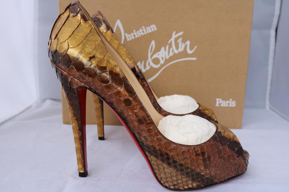 christian louboutin loafers replica - Christian Louboutin $1.4k Very Prive 120 Python Brown Peep Toe 37 ...
