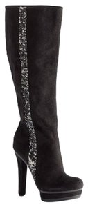 Jennifer Lopez Suede Row Of Sequins Black Boots
