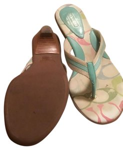 Coach Teal and tan Sandals