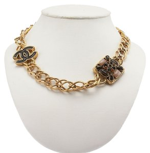 Chanel Chanel 2011 Collection Gold Tone Chain Link CC & Enamel Necklace (31547)