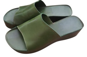 Robert Clergerie Open Toed Leaf Green Mules