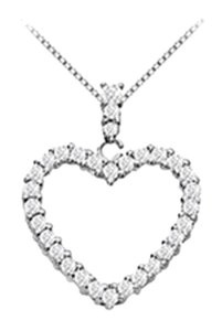 LoveBrightJewelry Floating Heart Diamond Pendant Necklace 0.50 Carat Diamonds