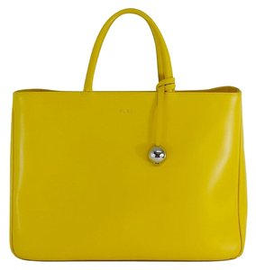 Furla Large Yellow Leather Tote