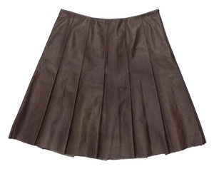 Lafayette 148 New York Chestnut Leather Pleated A-line Skirt