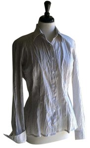 Ana Nonza Button Down Shirt White with black pinstripes