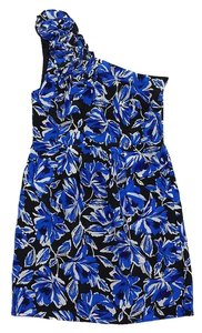 Yumi Kim short dress Cobalt & Black Floral One Silk on Tradesy