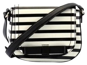 Kate Spade Black Cream Striped Patent Mini Cross Body Bag
