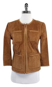 Tory Burch Tan Perforated Leather Leather Jacket