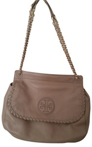 Tory Burch Classic Timeless Marion Saddle Pebbled Leather Imported Sand Shoulder Bag