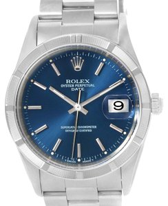 Rolex Rolex Date Stainless Steel Blue Dial Oyster Bracelet Mens Watch 15210