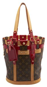 Louis Vuitton Lv Monogram Snakeskin Tote in Red,Brown