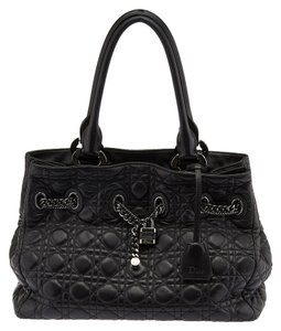 Dior Quilted Leather Chain Tote in Black