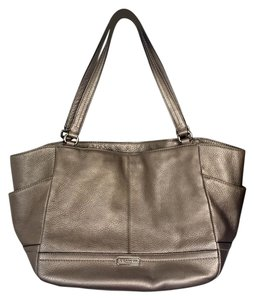 Coach Leather Metallic Tote in Silver