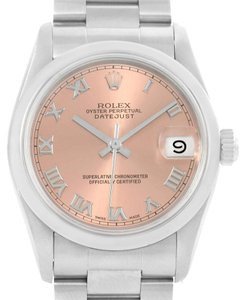 Rolex Rolex Midsize Datejust Stainless Steel Salmon Roman Dial Watch 68240