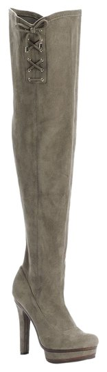 Jennifer Lopez Lace Up Accents Over The Knee Side Zipper. Gray Boots