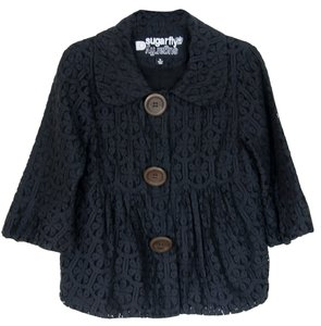 Sugarfly Tulip-hem Lace Cropped 3/4 Sleeve Lightweight Nordstrom Fall Black Jacket