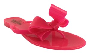 Valentino Bow Jelly Neon Rubber Neon Pink Sandals