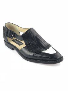 Kenneth Cole Leather Kiltie Two-tone Vintage Loafer Black/White Flats