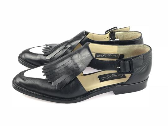 Kenneth Cole Leather Kiltie Two-tone Vintage Loafer Black/White Flats Image 2