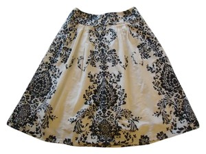 Anthropologie Black White Print Odille Skirt