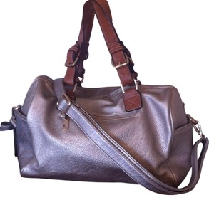 Other Convertible Golden Hardware Brown Straps Adjustable Crossbody Pewter Metallic Speedy Satchel in Golden, Brown