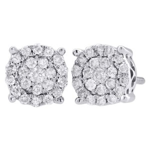 Jewelry For Less 10k White Gold Diamond Flower Studs 7.70mm Cluster Circle Earrings 0.50 Ct.