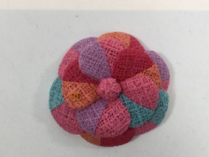 Chanel Multi Color Tweed Flower Brooch Pin