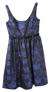 Monique Lhuillier Blue Formal Patterned Dress