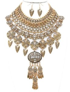 Other Russian Gold Gypsy Boho Warrior Crystal Accent Bib Collar Necklace Earring Set