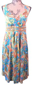 Sundance short dress green, orange, blue paisley Flowy Silk Sundress on Tradesy