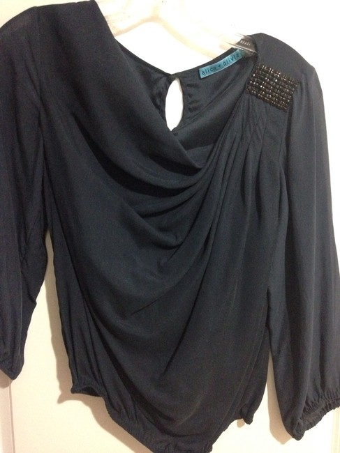 Alice + Olivia Jeweled Going Out 3/4 Sleeve Top Navy