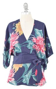 Tibi Silk Top Tropical Print