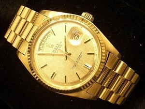 Rolex Mens Rolex Solid 18kt 18k Yellow Gold Day Date President Watch Wlinen Dial 1803