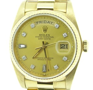 Rolex Rolex Solid 18k Yellow Gold Day Date President Factory Diamond Champagne 18038