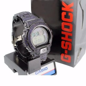 G-Shock Mens Purple Big Face G-shock Watch Digital Dial Iced Out Bezel Band Bling Dw6900