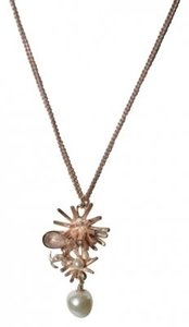 Chanel Authentic Chanel Rose Gold Burst Necklace With Pearl Accent