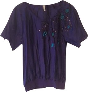 BCBGeneration Floral Top Jewel Tones