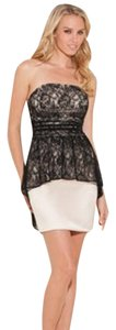Guess Lace Overlay Strapless A-line Peplum Dress