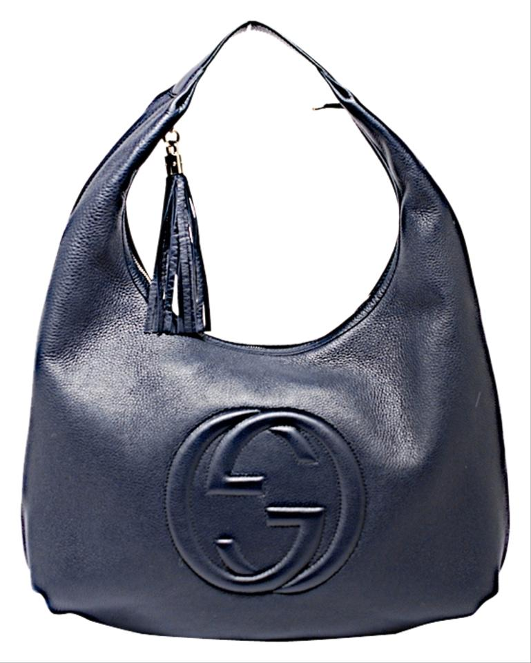b01dbf50c Gucci Hobo Soho Mystic Blue Gg Textured Tassel Large Navy Leather ...