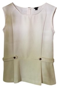 Ann Taylor Gold Buttons Formal Top Cream