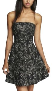 Express A-line Fit Flare Metallic Strapless Snakeskin Dress