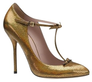 Gucci Leather Beverly 323494 Bronze/8200 Pumps